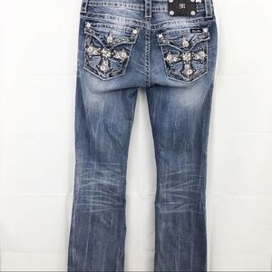 Miss Me Boot Cut Jeans Bling Cross Flap Pockets